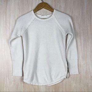 Athleta White Varsity Side Zipper Crew Sweater